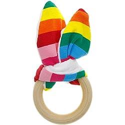 Rungao Anneau de dentition jouet en bois Cercle Eco-Friendly Montessori dentition Bunny oreille dentition Gift Set Bague organique
