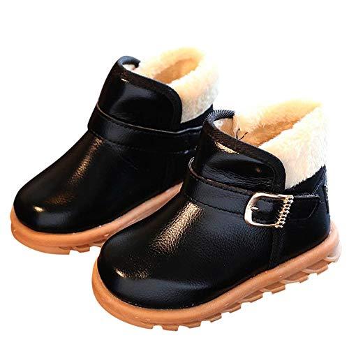 Robemon✬Autumn Hiver Épaissi Chaleur Enfant Bébé Fille Garçon Bambin Cachemire Cuir Chaud Bottes Doublure intérieure Polaire Chaussures 1-12Ans