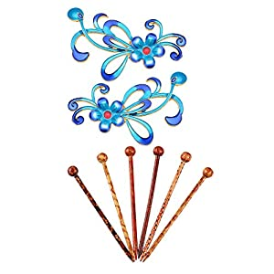 Fenteer 6er Haarstab Haarnadel Holz Haarschmuck Hairpin Hair Stick Haarstock + Cloisonne Blaue Blumen Anhänger Stecker Charms Beads Flatback Verzierung