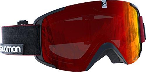 Salomon, Unisex-Skibrille, Für verschiedenste Wetterverhältnisse, Rote Multilayer-Scheibe (auswechselbar), Airflow-System, XVIEW, Schwarz/Rot, L39127500