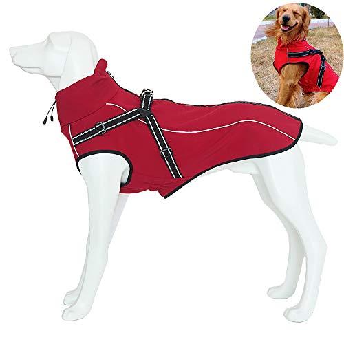 Petilleur Chaqueta Perro Abrigo Perro Invierno Otoño Ropa para Perros Medianos y Grandes con Correa Ajustable y Banda Reflectante (S, Rojo)