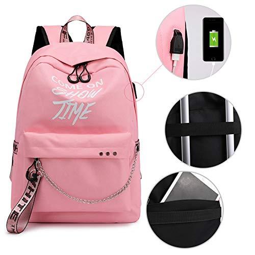 Rosa Junior Handtaschen (Studententaschen für Damen und Herren, Junior High School-Rucksack, Rucksack mit USB-Ladeanschluss, Handtasche mit großer Kapazität, Campus-Tasche, Computertasche,Rosa,30 * 13 * 43Cm)