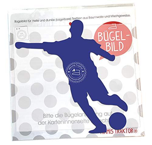 Bügelbild Gr. L Fußballer 11,7 x 13 cm DUNKELBLAU -