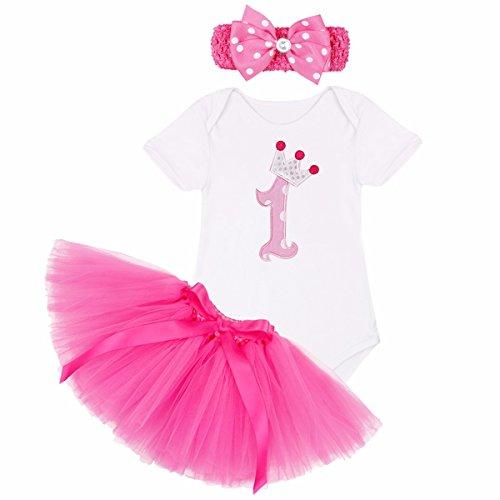 YiZYiF Baby Mädchen Kleidung Set 3 Stück Romper + Rock Tütü Pettiskirt + Stirnband 1. Geburtstag Geschenk Verkleidung (6-9 Monate, 1. Geburtstag + Rose Rock)