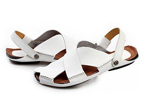 SHIXR Pantoufles à dos ouvertes pour hommes Vert Sandales respirantes Cuir confortables Sandales décontractées Chaussures de plage Cuir Extérieur White