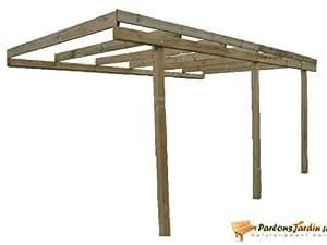 Carport adossant en bois COLORADO 15m² pour une voiture