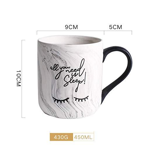 JJLEzlAM Becher Teeservice Teetassen Marmor Kreative Keramikbecher Tasse Büro Haushalt Tasse Literarische Kaffeetasse @ D