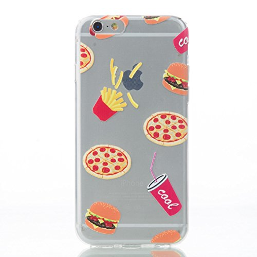 iPhone 6 Hülle,iPhone 6S Case - Felfy Ultra Dünne Slim Full Body Soft Gel TPU Silikone Case Transparent mit Schöne Bunte Muster Malerei Design Case Rückschale Schutz Anti Scratch Tasche de protection  Pommes & Pizza Cover