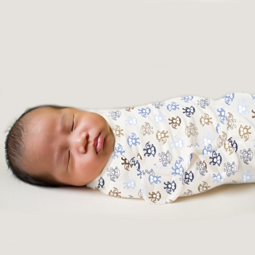 Summer Infant SwaddleMe PUCKSACK - Lil Monkey (Gr. Small) Äffchen, braun/blau - aus USA