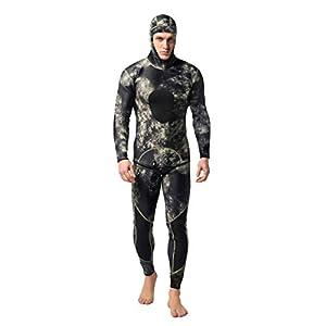 73JohnPol 2 STÜCKE Männer Tauchanzug Neopren 3mm Speerfischen Neoprenanzug Surf Schnorchel Badeanzug Split Tauchanzüge Surf Camouflage Kleidung (Farbe: MY009) (größe: XL)