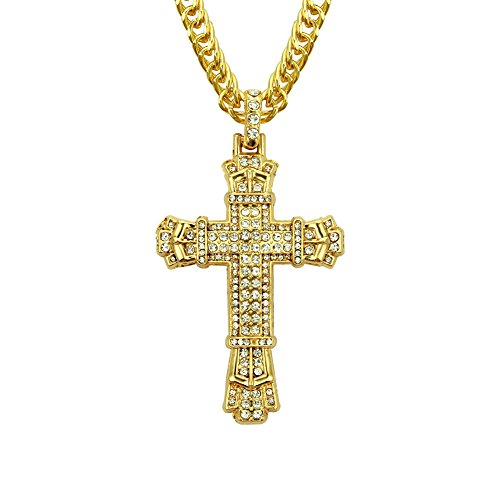 QSM Hip-Hop-Set Mit Diamanten Kreuz Anhänger Halskette Herrenschmuck Anhänger, Gold Männer Und Frauen Halskette,Gold,A (Männer Gold Diamant Kreuz Anhänger)