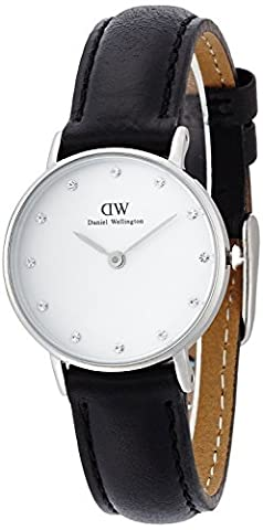 Daniel Wellington Women's Quartz Watch with White Dial Analogue Display and Black Leather Strap