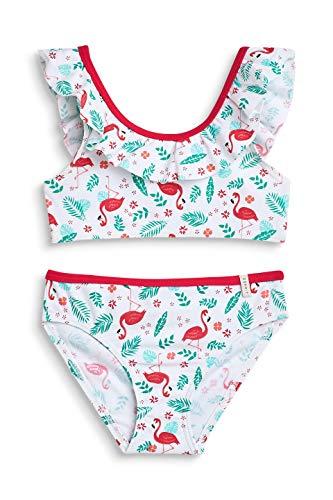 Urlaub Bustier (ESPRIT Mädchen Flamingo Beach MG Bustier + Brief Badebekleidungsset Weiß (White 100) 140 (Herstellergröße: 140/146))