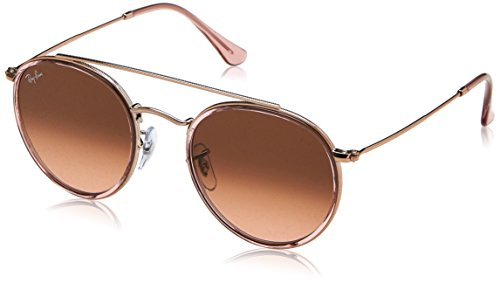 RAYBAN JUNIOR Unisex-Erwachsene Sonnenbrille Round Double Bridge Pink/Pinkgradientbrown, 51