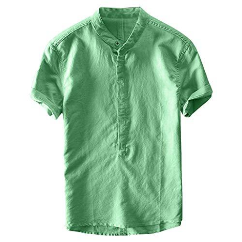 SSUDADY Baumwolle Leinen T-Shirt Herren Männer Sommer Strand Kurzarm T-Shirt mit Rundhals-Ausschnitt Frosch Button-Up Basic Tees Fashion Einfaches T-Shirt Sweatshirts Tops Für Männer M-3XL