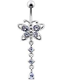 Bijou de corps anneau de nombril motif Papillon à pierres avec pierre ronde et pierre larme pendantes en Argent Sterling 925