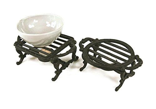 Farm and Garden Superbe paire de dessous de plat et de chauffe-plats en fonte - idéale pour protéger votre table et pour garder vos aliments chauds avec une bougie chauffe-plat
