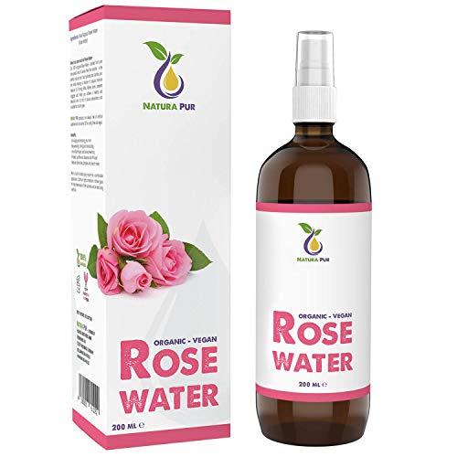 Natura Pur Rosenwasser Bio 200ml - 100% natürlich, vegan, in Glasflasche - Naturreines Rosen-Hydrolat, Gesichtswasser gegen unreine Haut, Pickel und Akne sowie zum Abschminken