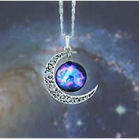 Choker Glass Galaxy Pendant Silver Chain Moon and Necklace