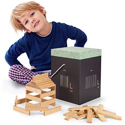 Laleni 220 Holzbausteine natur - Bauklötze mit Box, Bausteine Holz, Holzbaukasten