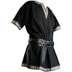 tianxinxishop Manga Corta Medieval de Los Hombres Tunica Medieval Camisa con Cuello en V Sin Correa Marron/Negro