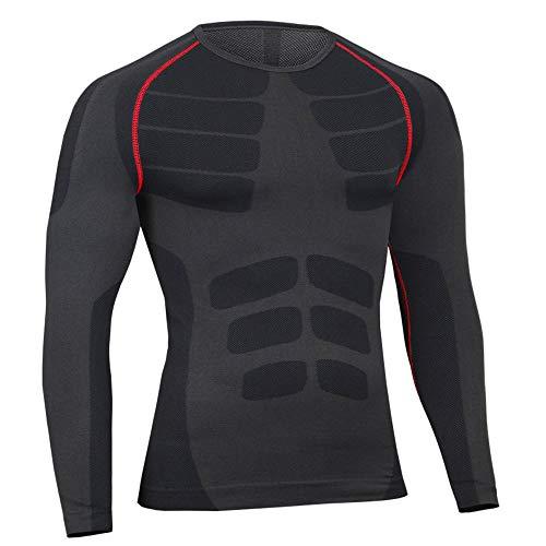 Bwiv maglia a compressione uomo manica lunga asciugatura rapida maglia da corsa ciclismo nero m