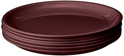 Signoraware Round Plastic Full Plate Set, Set of 6, Maroon