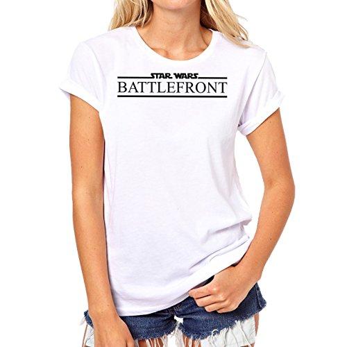 Star Wars Battlefront Jedai Yedi Game Logo Black And White Damen T-Shirt Weiß