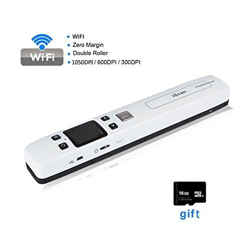 Handscanner, FLAGPOWER Portable Dokumentenscanner Fotoscanner 1050dpi Wireless Scanner mit 16GB Mikro SD Karte WiFi Funktion Farbdisplay (Weiß)