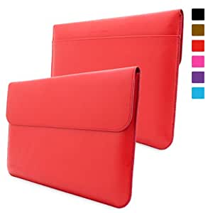 Surface 2 and 1 Sleeve, Snugg - Red Leather Sleeve Case [Lifetime Guarantee] Protective Cover for Surface 2 and 1