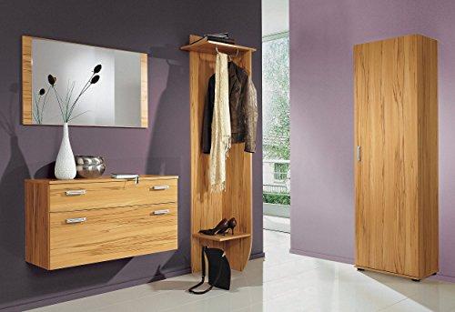 8003 - Garderobe Set mit Spiegel, 4-teilig, in kernbuche