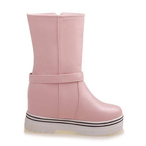 AllhqFashion Damen Weiches Material Rein Niedrig-Spitze Hoher Absatz Stiefel, Pink, 34
