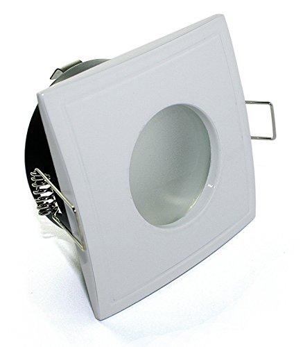 230V hochwertiger LED Badezimmer Einbaustrahler eckig, inkl. 5 Watt Leuchtmittel= 50W Helligkeit, in warmweiss, Feuchtraumstrahler in WEISS, IP65, Bad, Badezimmerleuchte, OUT65 OUT, inkl. Hochvolt GU10 HV LED Leuchtmittel