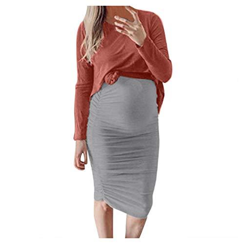 WoWer Frauen Mutterschaft Kleid O-Ausschnitt Langarm Einfarbig Kleid Sexy Anzug Kleid Damen Schwangere Frauen Einfarbig unregelmäßige Zweiteilige Tops Rock Dress Set (Langarm-sleepshirt Florale)