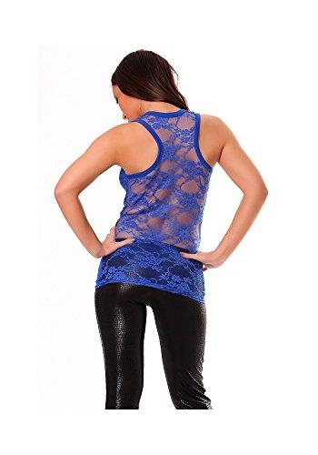 dmarkevous - Débardeur femme marcel en bleu très classe avec dentelle au dos bleu royal