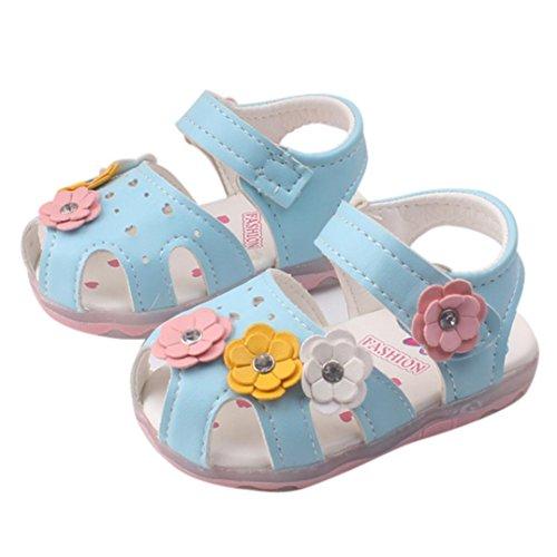 Reasoncool Bambino Nuove ragazze di fiori dei sandali illuminato suola morbida principessa bambino Blu