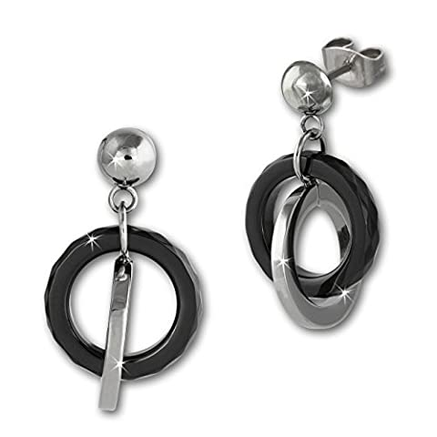 Amello Ohrringe Keramik Ringe schwarz für Damen Ohrstecker Edelstahlschmuck Stainless