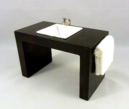 Preisvergleich Produktbild Puppen-haus-miniatur-badmöbel Modern Waschbecken Waschtisch in schwarz-Einheit