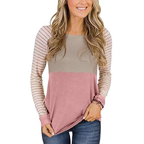 T-Shirt da Donna Casual o-Collo Manica Lunga a Righe