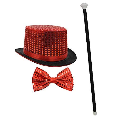 Top Silver Hüte Kostüm Hut - ILOVEFANCYDRESS Pailetten Zylinder HÜTE+Fliege+TANZSTOCK= KOSTÜM VERKLEIDUNG=Unisex =ERHALTBAR TOLLES ZUBEHÖR FÜR Karneval ODER Fasching ODER Silvester=ROT