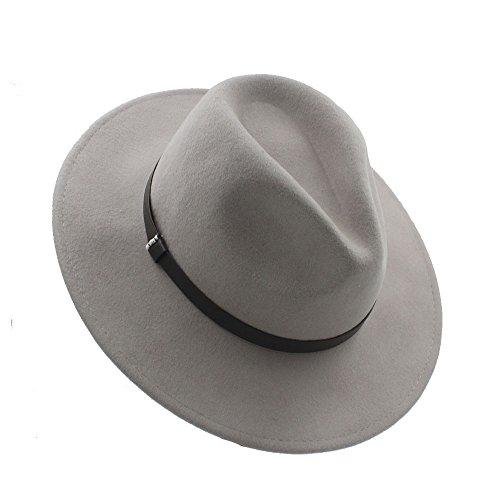 XZP 100% Wolle Panama Hut Herbst Winter Jazz Fedora Bowler Hüte mit Gold Kette Einfarbig Für Frauen