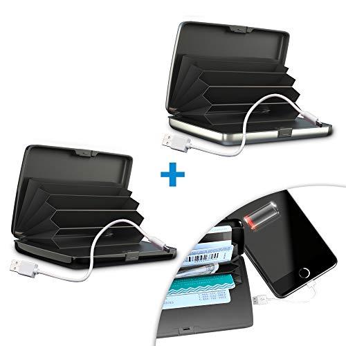 M MEDIASHOP Card Guard Power Wallet 2 STK. schwarz | Geldtasche inkl Ladekabel schützt vor Datenklau | integrierten RFID Schutz | Sicherheits-Portemonnaie inkl. Ladegerät | Das Original aus dem TV -