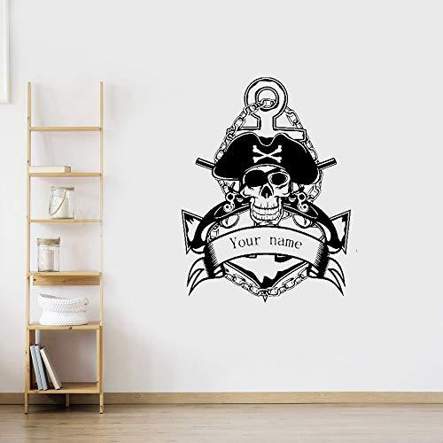 Wandtattoo Schlafzimmer Schädel halloween pistole anker piraten aufkleber punk tod aufkleber teufel poster name kunst dekor wandbild (Halloween Piraten Sprüche)