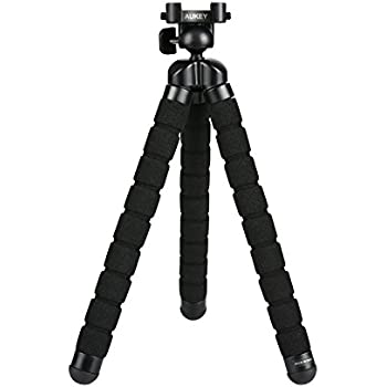 """AUKEY Camera Tripod Mini Flexible Compact 360 Degrees with 1/4"""" Screw Phone Holder for Smartphones , Video Stand for GoPro , DSLR Digital Camera and More"""