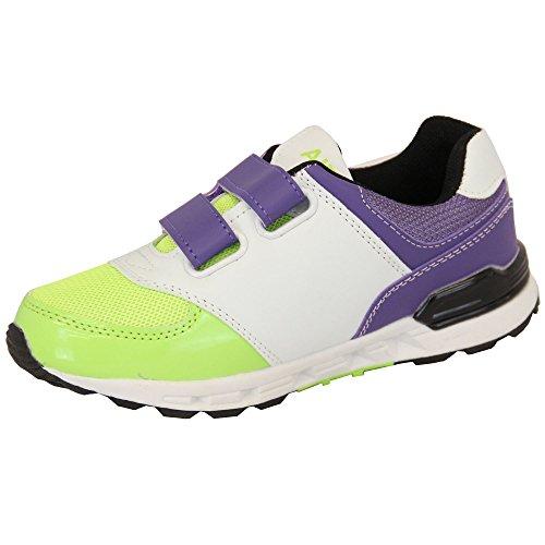 Mädchen Turnschuhe Kinder Air Tech Schuhe Klettverschluss Netz Jogging Sport Fitnessstudio Designer Neu Violett/Weiß - NEMESIS