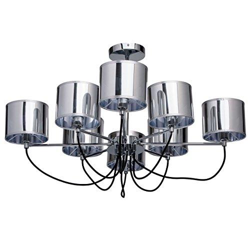 8 Light Halogen Kronleuchter (MW-Light 103010908 Moderner Kronleuchter 8 Flammig Chromiertes Metall Chromfarbige Acrylschirme Wohnzimmer 8 x 40W E14 2700K)