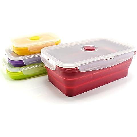Durandal–Juego de 4cajas de cierre hermético y retráctil de silicona sin BPA + Pack de 3bolas Fraicheur para nevera