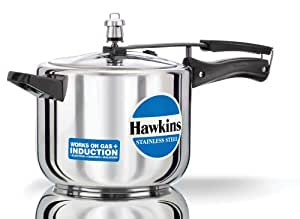 Hawkins Stainless Steel Pressure Cooker, 5 Litres, Silver