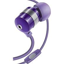 Gogroove AudiOHM HF - Auriculares en oreja con micrófono, manos libres y reducción de ruido con puerto audio jack 3,5 mm, color violeta - amatista