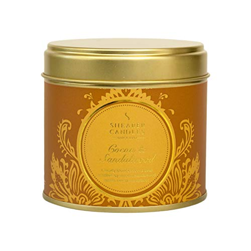 Shearer Candles Duftkerze aus Kakao und Sandelholz, Duftkerze in Dose, Baumwolldocht, Duft & ätherische Öle, Ombre, Gold, Weiß, groß